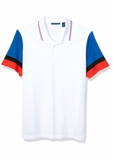 Perry Ellis Men's Color Block Striped Polo Bright White-4ESK7122 Extra Extra Large