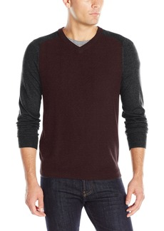 Perry Ellis Men's Color Block V-Neck Sweater  M