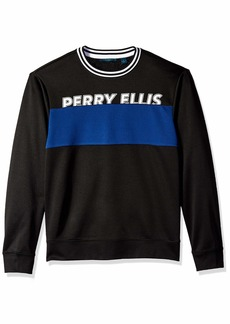 Perry Ellis Men's Colorblock Logo Crew Black/DHK