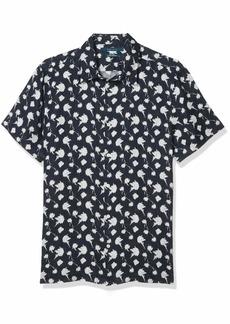 Perry Ellis Men's Dandelion Print Linen Short Sleeve Button-Down Shirt