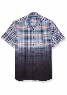 Perry Ellis Men's Dip Dye Plaid Shirt Coastal fjord-4ESW7025 Extra Extra Large