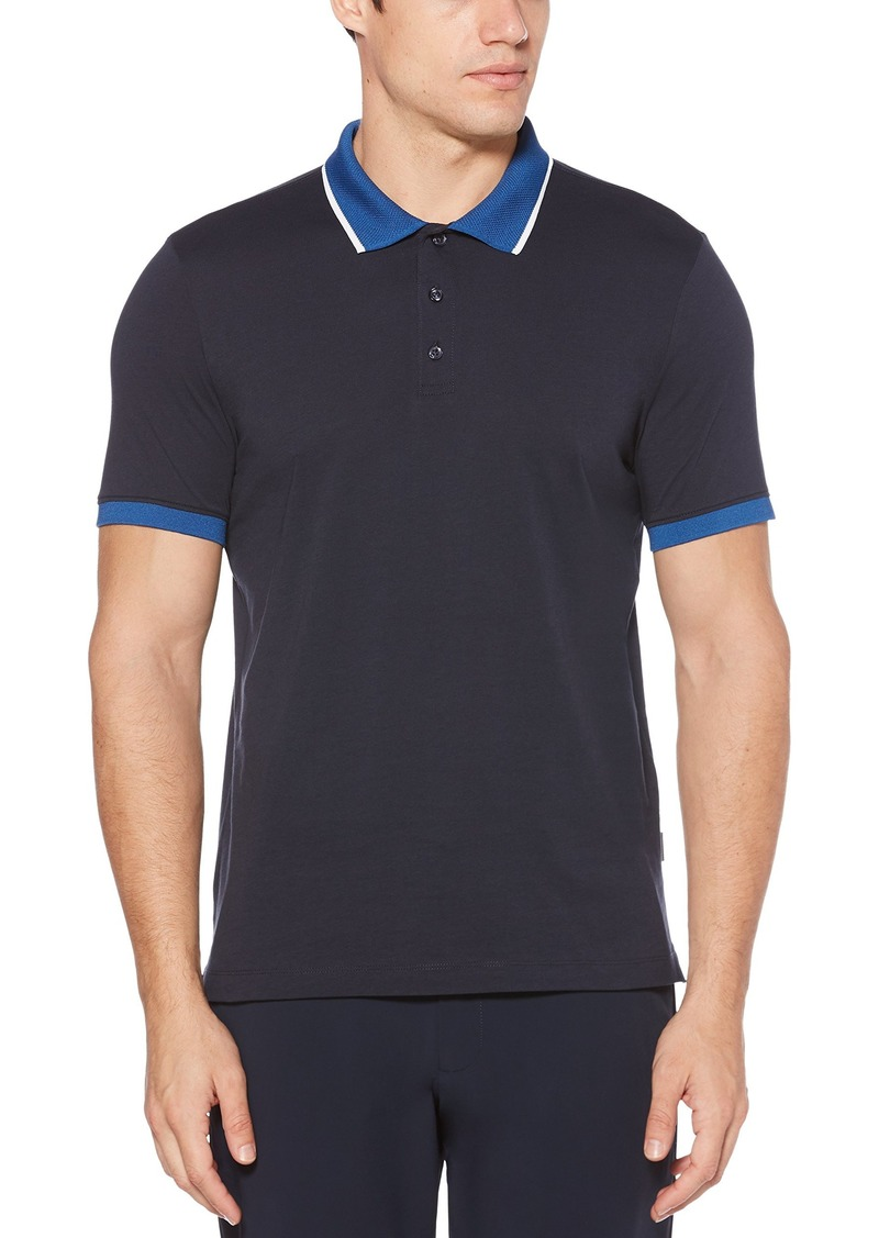 Perry Ellis Men's Dipped Collar Pima Cotton Polo  Extra Large