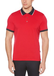 Perry Ellis Men's Dipped Collar Pima Cotton Polo Haute red Extra Extra Large