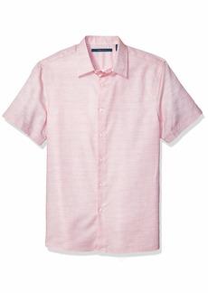 Perry Ellis Men's Dobby Stripe Short Sleeve Button-Down Shirt  XX Large