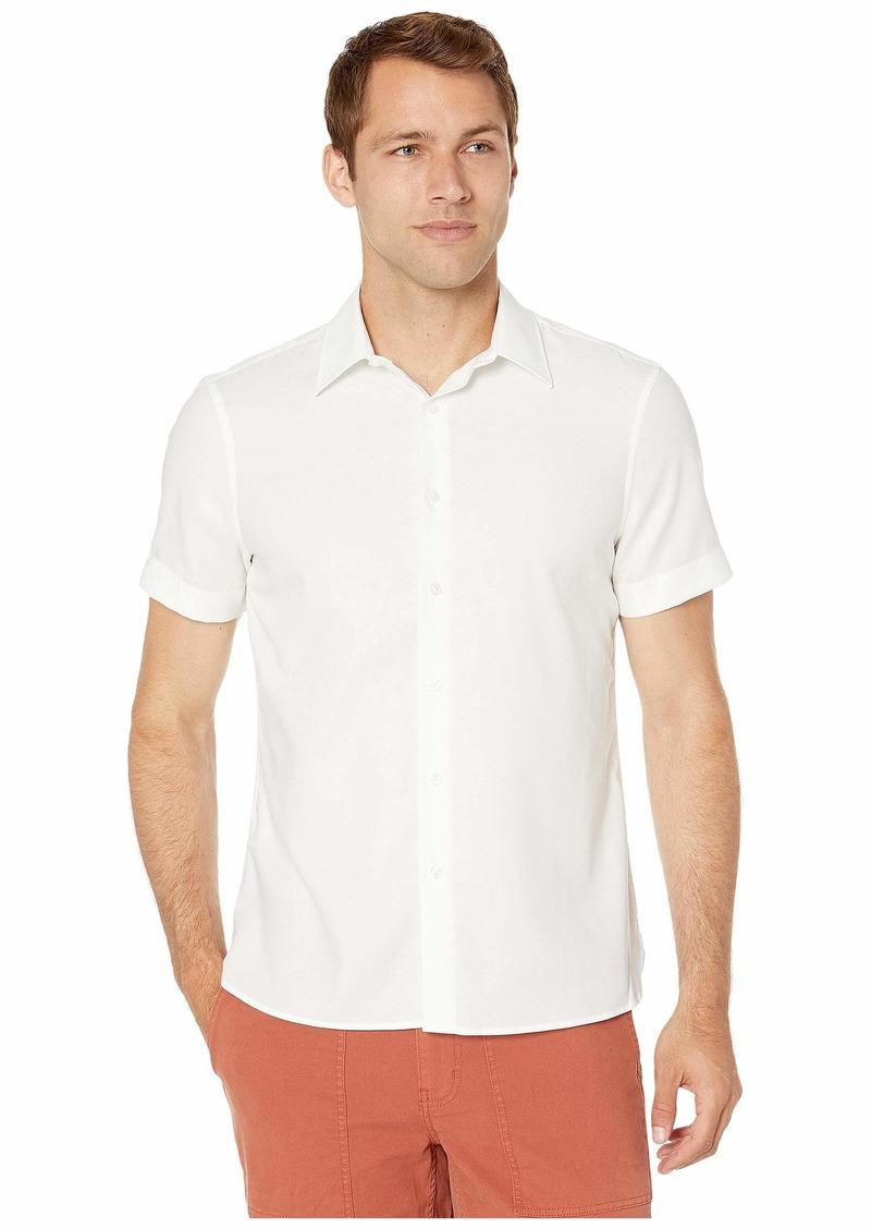 Perry Ellis Men's Dobby Stripe Short Sleeve Shirt Bright White-4EMW7070
