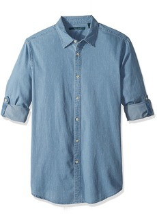 Perry Ellis Men's Dotted Denim Roll Sleeve Shirt  Extra Large