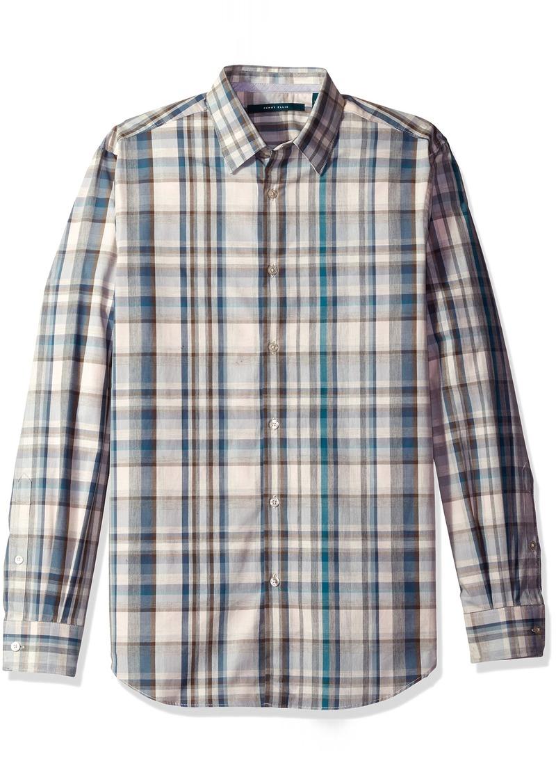 Perry Ellis Men's Exploded Heather Plaid Shirt  XL