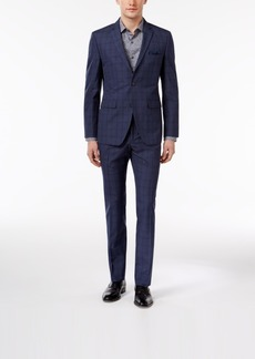 Perry Ellis Men's Extra Slim-Fit Portfolio Denim Blue Windowpane Comfort Stretch Suit