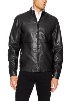 Perry Ellis Men's Faux Leather Zip Front Jacket