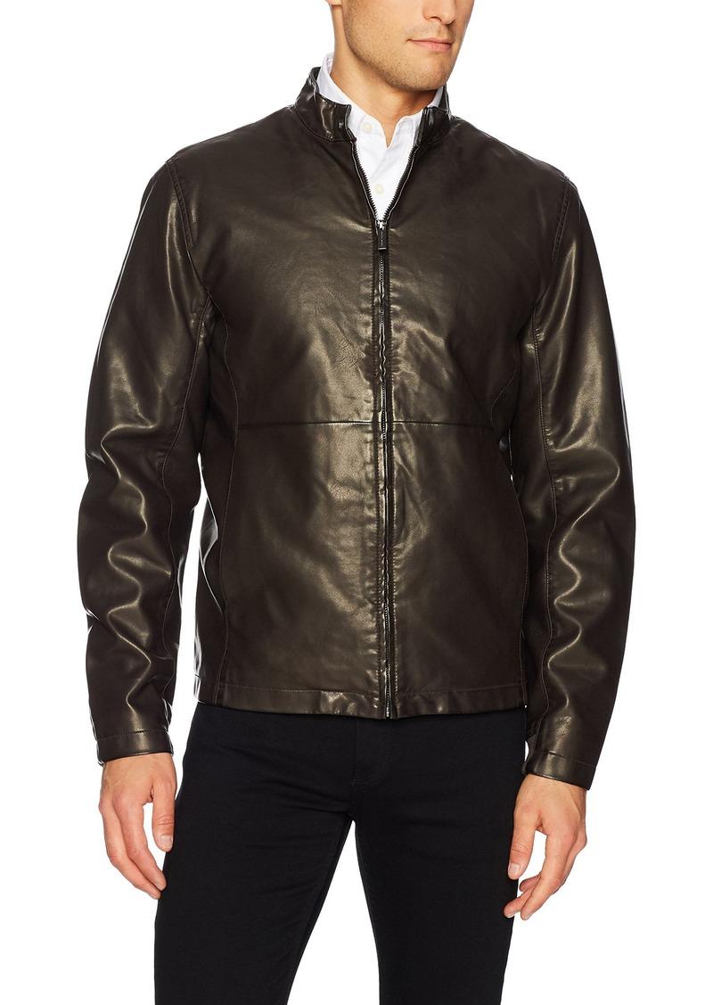Perry Ellis Men's Faux Leather Zip Front Jacket  Extra Large