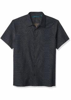 Perry Ellis Men's Firecracker Print Jacquard Short Sleeve Button-Down Shirt