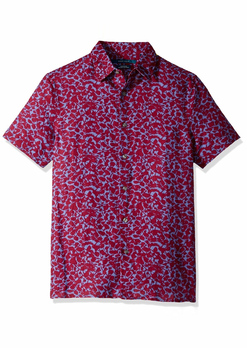 Perry Ellis Men's Floral Linen Print Shirt Rhododendron-4ESW7057