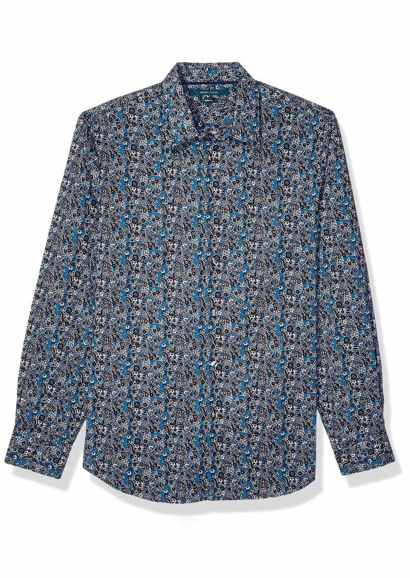 Perry Ellis Men's Floral Paisley Print Stretch Long Sleeve Shirt Blue Sapphire-4EMW4062