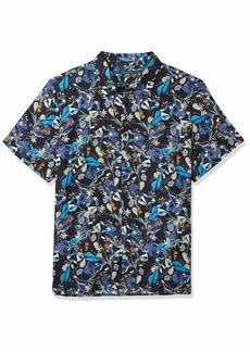 Perry Ellis Men's  Floral Print Short Sleeve Button-Down Shirt