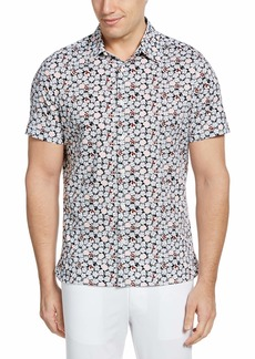 Perry Ellis Men's Floral Print Stretch Short Sleeve Button-Down Shirt