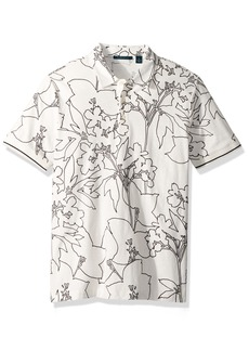 Perry Ellis Men's Floral Printed Polo Bright white-4DSK7157 Extra Large