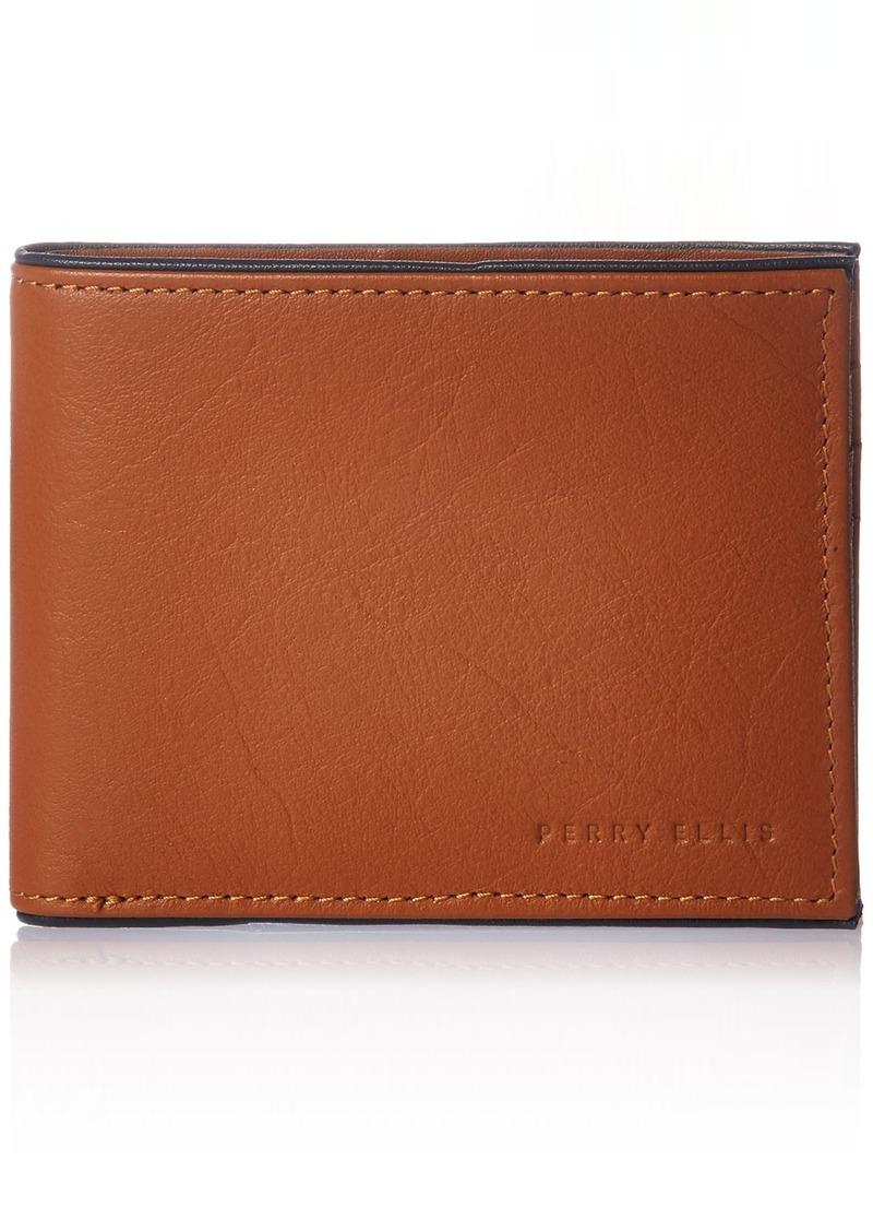 Perry Ellis Men's Full Grain Glazed Finish RFID Passcase Wallet