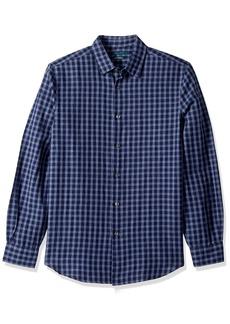 Perry Ellis Men's Gingham Plaid Linen Cotton Shirt