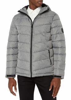 Perry Ellis Men's Heather Puffer Jacket with Hood