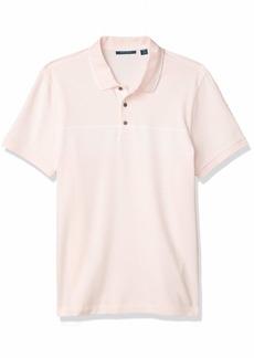 Perry Ellis Men's Jacquard Chest Stripe Short Sleeve Polo Shirt