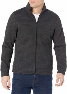 Perry Ellis Men's Jacquard Full Zip Mock Neck Jacket