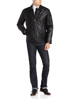 Perry Ellis Men's Open Bottom Leather Jacket  X-Large