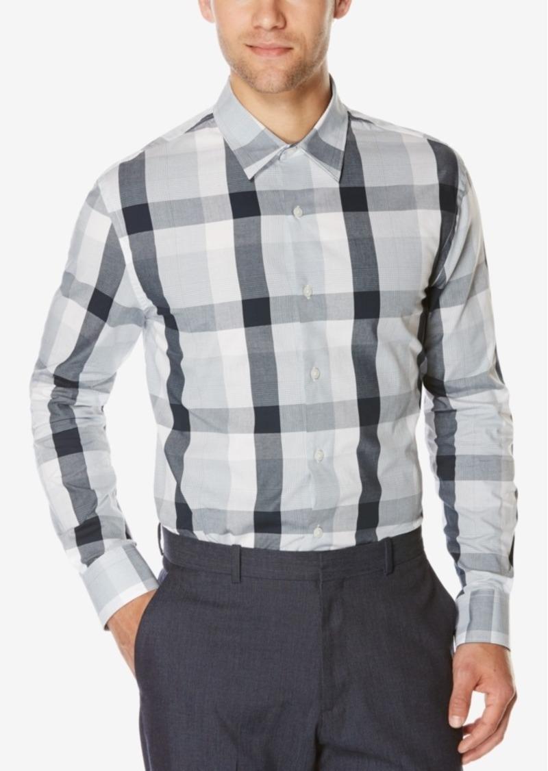 Perry Ellis Men's Large-Plaid Long-Sleeve Shirt