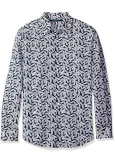 Perry Ellis Men's Leaf Print Design Shirt  L