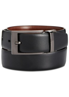 Perry Ellis Portfolio Men's Leather Zeus Etched Reversible Buckle Belt