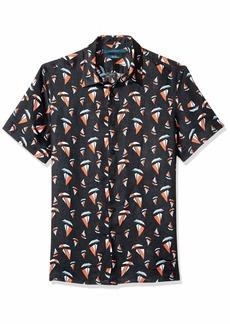 Perry Ellis Men's Linen Print Untucked Shirt  Extra Large