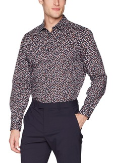 Perry Ellis Men's Long Sleeve Abstract Floral Print Shirt