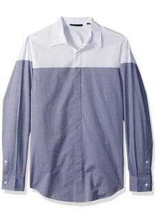 Perry Ellis Men's Long Sleeve Color Block Shirt