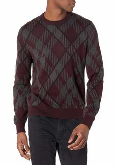 Perry Ellis Men's Long Sleeve Cotton Ao Plaid CRW Sweater