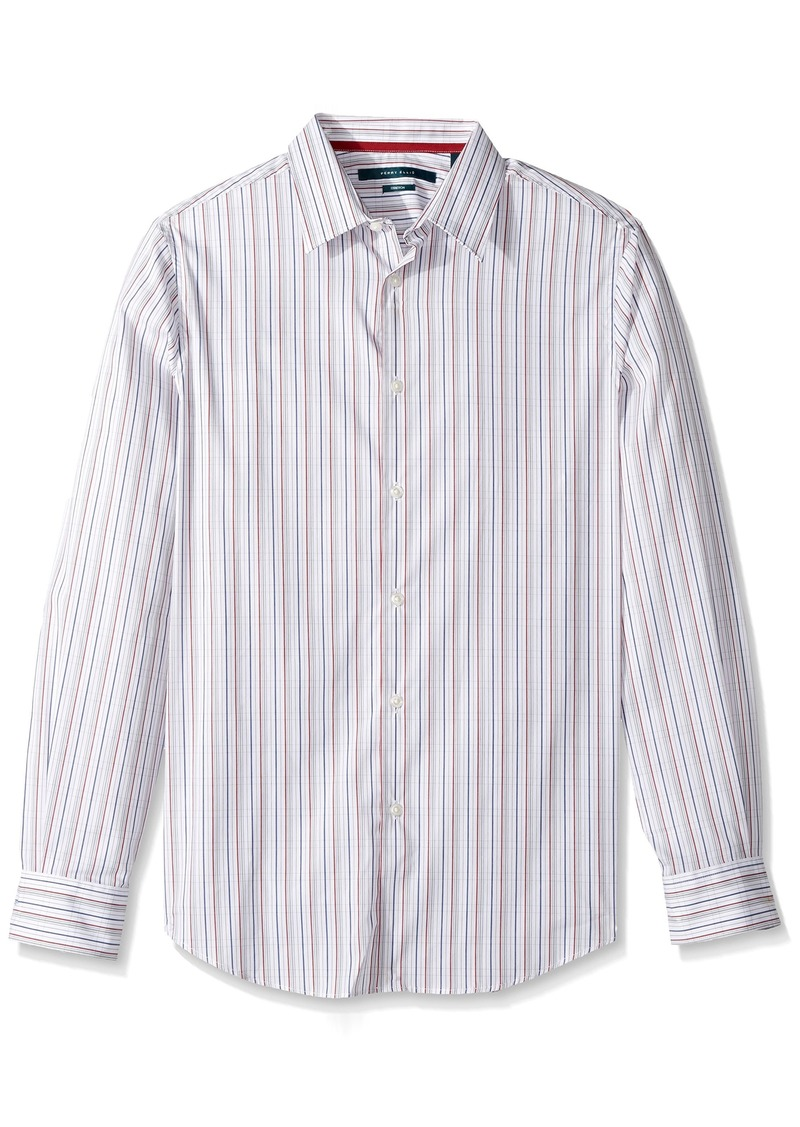 Perry Ellis Men's Long Sleeve Multi Color Check Shirt Bright White-4CMW7047 Extra Large