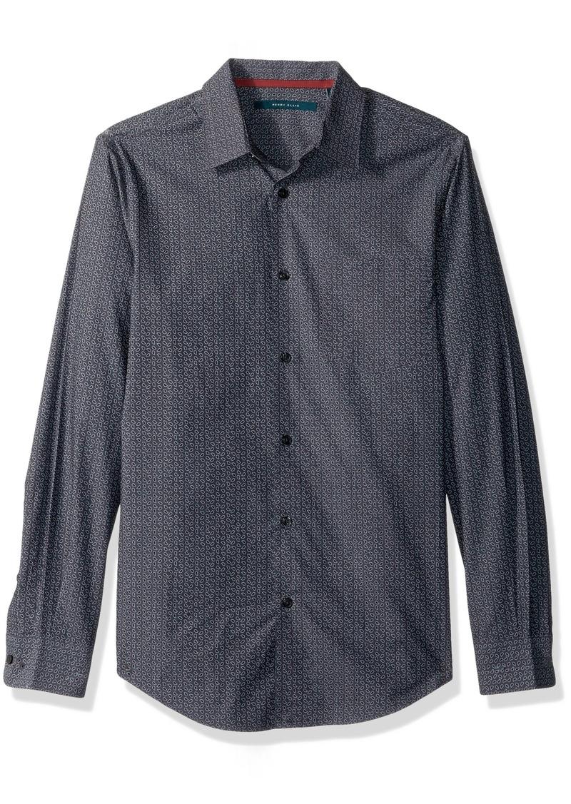 Perry Ellis Men's Long Sleeve Multicolor PaisleyPrint Shirt Dark Sapphire-4CFW7010