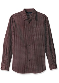 Perry Ellis Men's Long Sleeve Multicolor PaisleyPrint Shirt Royal Black Cherry-4CFW7073