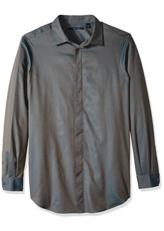 Perry Ellis Men's Long Sleeve Solid Jacquard Shirt  Extra Extra Large
