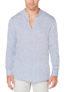 Perry Ellis Men's Long-Sleeve Solid Linen Cotton Popover Shirt