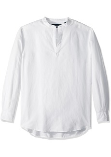 Perry Ellis Men's Long-Sleeve Solid Linen Cotton Popover Shirt  Extra Extra Large