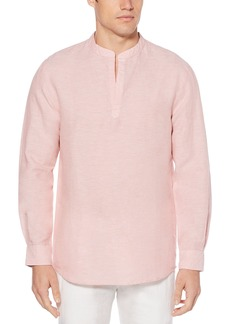 Perry Ellis Men's Long-Sleeve Solid Linen Cotton Popover Shirt  Extra Large