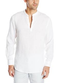 Perry Ellis Men's Long Sleeve Solid Linen Popover Shirt