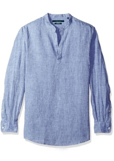 Perry Ellis Men's Long-Sleeve Solid Linen Popover Shirt  Extra Large