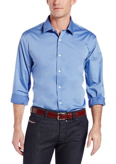 Perry Ellis Men's Long Sleeve Twill Noniron Medium Spread Collar Shirt