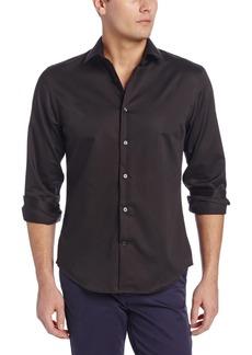 Perry Ellis Men's Long Sleeve Twill Noniron Medium Spread Collar Shirt Black