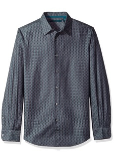 Perry Ellis Men's Long Sleeve Wave Printed Shirt