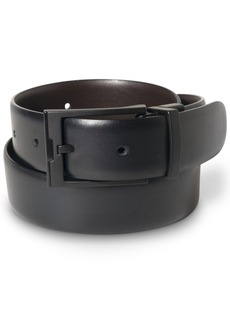 Perry Ellis Portfolio Men's Matte Black Reversible Buckle Leather Belt