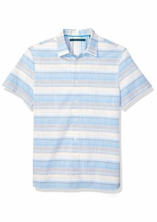 Perry Ellis Men's Multi-Color Horizontal Stripe Shirt Mediterranean Blue-4EMW4026