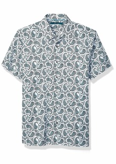 Perry Ellis Men's Multi-Color Paisley Print Short Sleeve Shirt Bright White-4EMW4049
