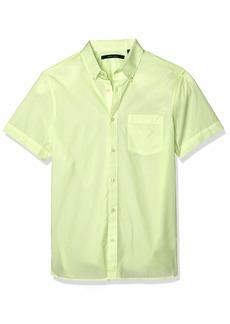 Perry Ellis Men's Neon Stripe Short Sleeve Button-Down Shirt