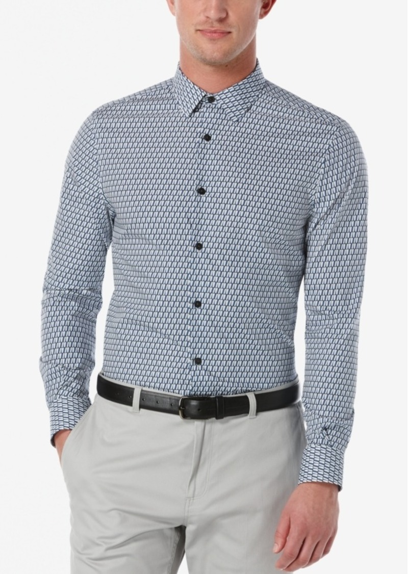 Perry Ellis Men's Non-Iron Diagonal-Print Long-Sleeve Shirt, a Macy's Exclusive Style